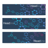Vetenskaplig uppsättning av moderna vektorbaner DNAmolekylstruktur med förbindelselinjer och prickar Vetenskapsvektorbakgrund Arkivfoton