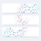 Vetenskaplig uppsättning av moderna vektorbaner DNAmolekylstruktur med förbindelselinjer och prickar Vetenskapsvektorbakgrund Fotografering för Bildbyråer