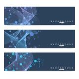 Vetenskaplig uppsättning av moderna vektorbaner DNAmolekylstruktur med förbindelselinjer och prickar Vetenskapsvektorbakgrund Royaltyfria Foton