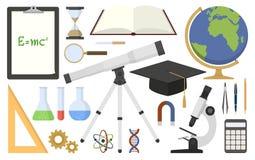 Vetenskapliga hjälpmedel i plan design Vektor Illustrationer