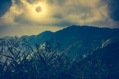 Vetenskapligt naturligt fenomen Sammanlagd sol- förmörkelse med effekt för diamantcirkel royaltyfria bilder