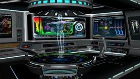 Vetenskapligt robottekniklaboratorium med det Android hologrammet Royaltyfria Bilder