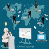 Vetenskaps- och utbildningsbegrepp, avstånd, online- som lär professor, internationella studenter, vektorillustration Arkivbild