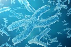 Vetenskapsbakgrund med kromosomer Vetenskapligt begrepp för medicin framförande 3d vektor illustrationer