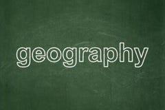 Vetenskapsbegrepp: Geografi på svart tavlabakgrund stock illustrationer