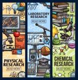 Vetenskapsläkarundersökning, kemikalie och laboratoriumforskning vektor illustrationer