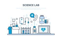 Vetenskapslabb, vårdsystem, medicin, hjälpmedel, utrustning, droger, apparater, forskning stock illustrationer