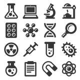 Vetenskapssymbolsuppsättning på vit bakgrund vektor royaltyfri illustrationer