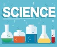 Vetenskapstext och det färgrika laboratoriumet fyllde med en klar flytande- och blåttbakgrund royaltyfri illustrationer