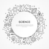 Vetenskapsutbildningsbakgrund med den runda ramen stock illustrationer