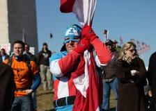Veteraan die Kapitein America Costume draagt Stock Foto's