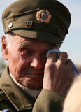 Veteran. Ukrainian Insurgent Army kerchief wiping tears in their eyes royalty free stock photos