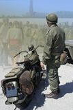 Veteran. WWII uniform and motobike 1940y stock photography