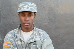 Veteran African American Soldier Isolated stock photography