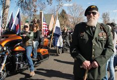 Veteran Army Ranger Scout Sergeant John Watson at the annual Veteran`s Day Parade and Ceremony. Loveland, CO – 11 November 2017: Veteran Army Ranger Scout Stock Photos