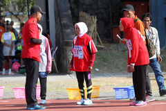Veteran athletes. Compete in the national championship athletic master at a stadium in the city of Solo, Central Java, Indonesia Stock Photography