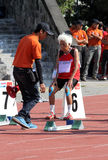 Veteran athletes. Compete in the national championship athletic master at a stadium in the city of Solo, Central Java, Indonesia Stock Photos