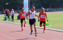 Veteran athletes. Compete in the national championship athletic master at a stadium in the city of Solo, Central Java, Indonesia Stock Photo