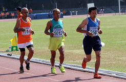 Veteran athletes. Compete in the national championships in a stadium in the city of Solo, Central Java, Indonesia Stock Image