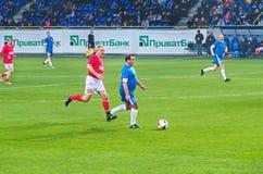 Veteran av FC Dnipro börjar en attack Royaltyfria Foton
