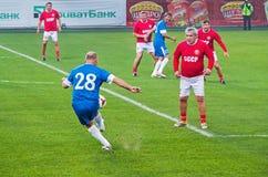 Veteran av USSR-landslaget mot veterorna av FC Dn Royaltyfri Fotografi
