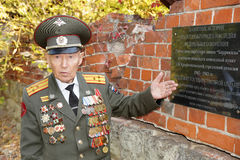 Veteran of the Battle of Stalingrad colonel Vladimir Turov. Defender of Stalingrad veteran of World War II colonel Vladimir Semenovich Turov at a memorial board stock photos