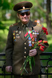 Veteran. A veteran in a Belarusian park on the Victory Day Royalty Free Stock Photography