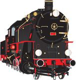 Veteran Black and Red Steam Locomotive royalty free illustration