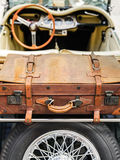 Veteran car - cabriolet. With suitcase Royalty Free Stock Photos