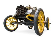 A veteran car manufactured in 1900. Rennzweier The Double Racer a veteran car manufactured in 1900, isolated on white background royalty free stock photo