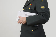 Veteran Employment. US Army veteran with business newspaper section looking for opportunities stock photos