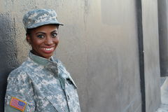 Veteran Female African American Soldier Smiling royalty free stock photo