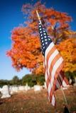 Veteran flag in autumn cemetery Royalty Free Stock Image