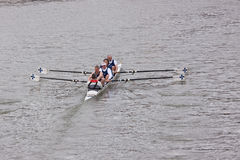 Veteran Four Rowing Crew. BRISTOL, ENGLAND - FEBRUARY 19: Veteran team of four competing in the annual Head of the River event in Bristol, England on February 19 stock photography