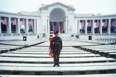 Veteran Holding Flag, Arlington National Cemetery, Washington, D.C. Royalty Free Stock Photo