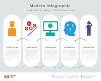 Veteran infographics design. Infographics design  and veteran, snooker, intranet, curiosity, scratching head icons can be used for workflow layout, diagram Stock Photo