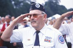 Veteran of Korean War Saluting, Washington, D.C. Royalty Free Stock Photo