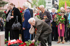 Veteran lays flowers at the monument to fallen soldiers Royalty Free Stock Images