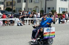Veteran Long Beach Lesbian and Gay Pride Parade. Gay veteran on wheelchair during the 2012 Long Beach Lesbian and Gay Pride Parade Royalty Free Stock Photo