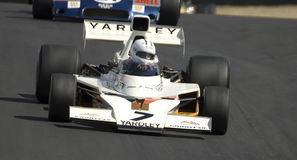 Veteran McLaren Formula One Racing Car. 1973 McLaren F1 racing car on the race track at the Hampton Downs Festival of Motor Sport, the Yardley McLaren was one of Royalty Free Stock Images