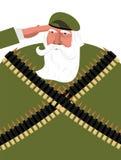 Veteran med grå färgskägget Morfarsoldater Gammal militär patriot royaltyfri illustrationer