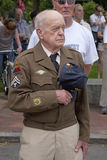 Veteran on Memorial Day. World War II Veteran holds hat on Memorial Day, 2011, Concord, MA Royalty Free Stock Image
