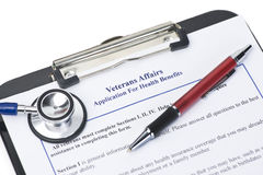 Veteran's Benefits. Hypothetical veteran application for health benefits. Document is totally fictitious and created by photographer royalty free stock images