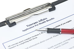 Veteran's Benefits. Hypothetical veteran application for health benefits. Document is totally fictitious and created by photographer royalty free stock image