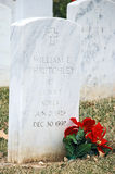 Veteran's Cemetery 3. Poinsettias decorate headstones at the Veteran's Cemetery in Leavenworth, Kansas Stock Images