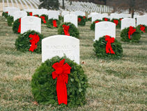 Veteran's Cemetery 4. Wreaths decorate headstones at the Veteran's Cemetery in Leavenworth, Kansas Stock Images