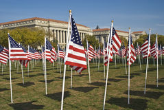 Veteran's Day. Miriad of american flags captured on veteran's day in Washington DC with the Reagan Building in the background royalty free stock photography