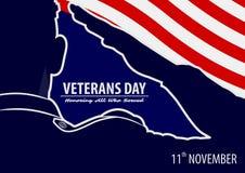 Veteran`s day poster template. stock illustration
