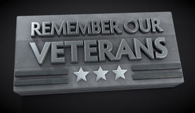Veteran's Day Sign. Veterans Day sign with text Remember Our Veterans. Clipping path included for easy selection Stock Images