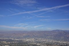 Veteran's Day US Army Performance with skydiver. And American flag, saw on Hollywood sign trail at Hollywood, California, United States Royalty Free Stock Image